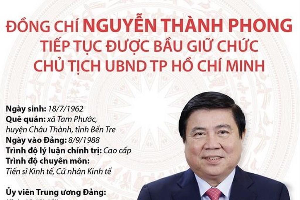 Ông Nguyễn Thành Phong tiếp tục giữ chức Chủ tịch UBND TP Hồ Chí Minh