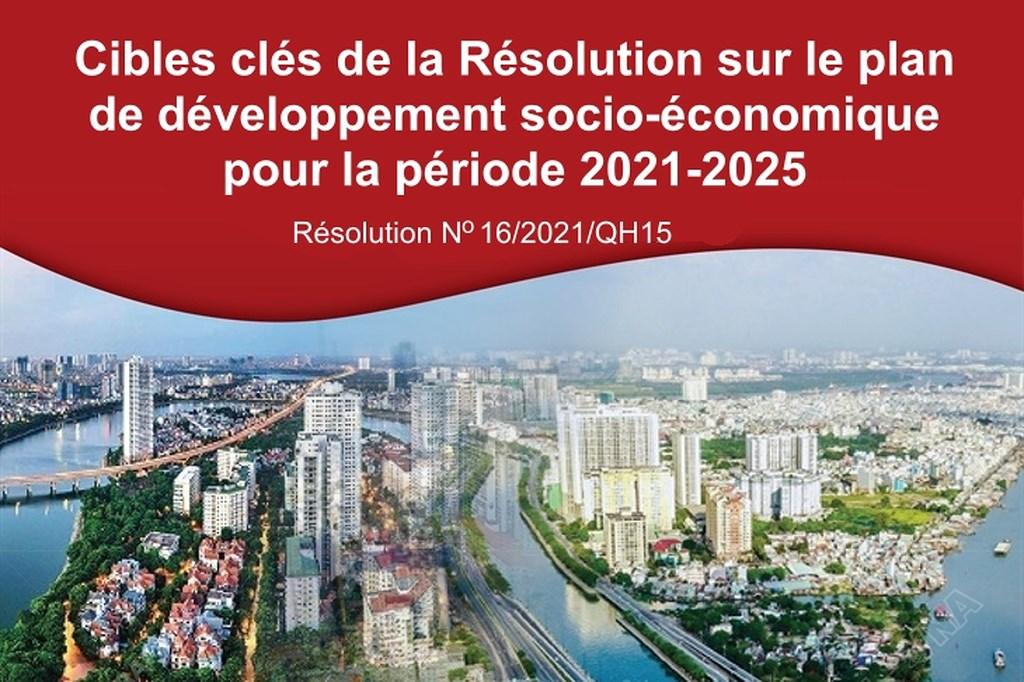 Cibles clés de la Résolution sur le plan de développement socio-économique pour la période 2021-2025