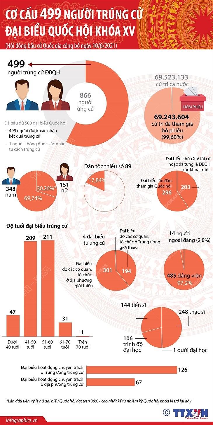 [Infographics] Co cau 499 nguoi trung cu dai bieu Quoc hoi khoa XV hinh anh 1