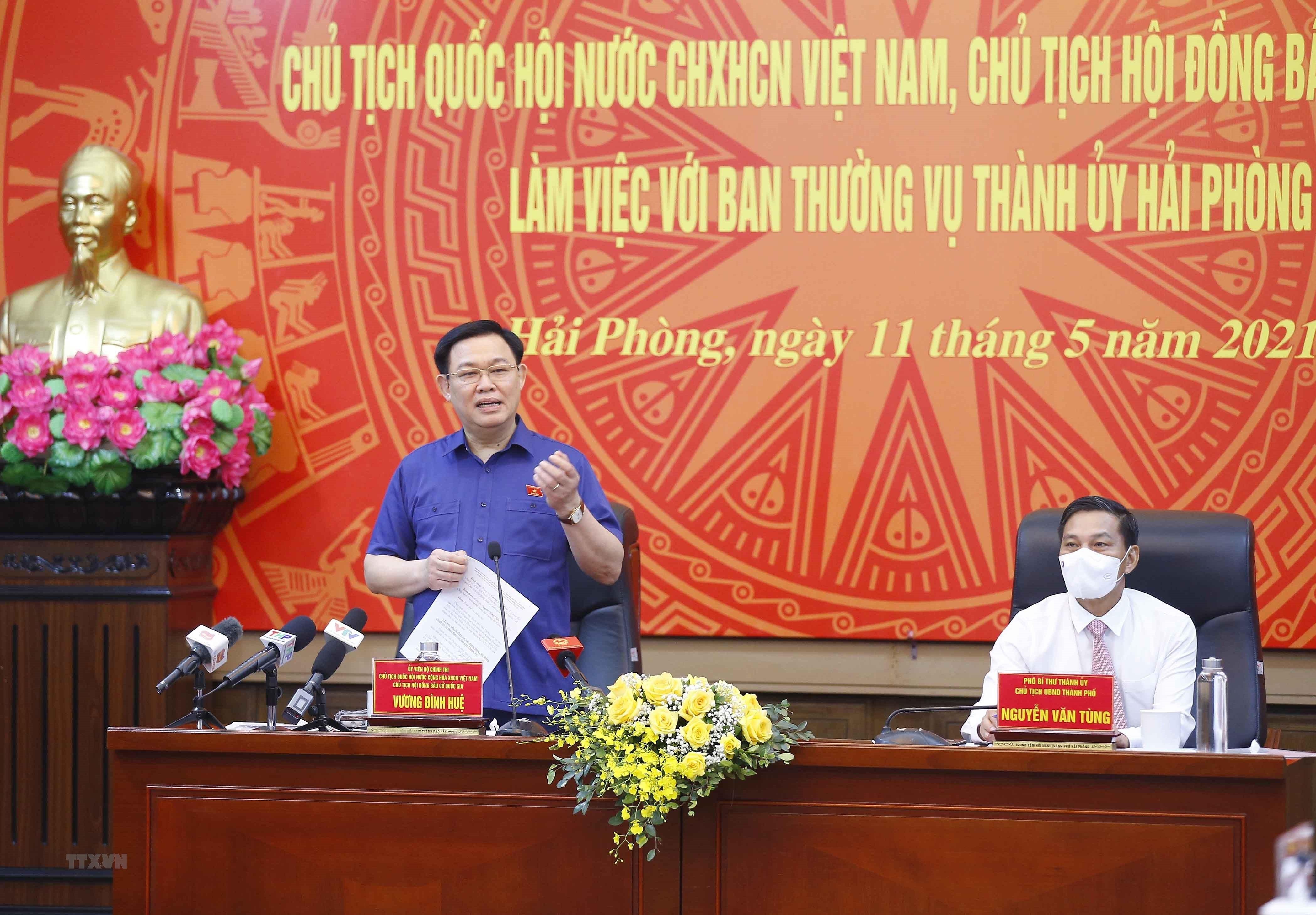 Chu tich Quoc hoi lam viec voi Ban Thuong vu Thanh uy Hai Phong hinh anh 9